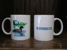 Four (4) Minnesota Coffee Mugs Original Art Loon State Bird Lakes, Trees, NEW