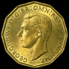 More details for 1946 george vi brass threepence, rare, unc