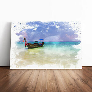 Longboat Boat in Thailand Seascape V3 Framed Canvas Print Wall Art Picture Large