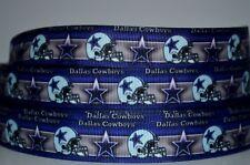 """1 yd 7/8"""" Inch Grosgrain Ribbon Football Dallas Cowboys Sport Team Printed."""