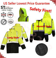 Hi Vis Insulated Safety Bomber Reflective Jacket Road Work HIGH VISIBILITY 18