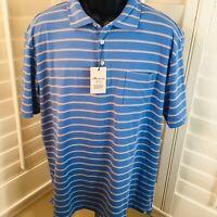 Peter Millar Seaside Wash Bonnet Blue Striped Polo Shirt - Men's Large - NWT $89