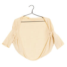 NEERA Knitted Bolero Size S Beige 3/4 Sleeve Open Front Made in Italy