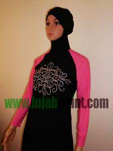 Lady Modest Muslim Burqini Two Piece Beachwear Swimsuit Swimwear Islamic Burkini
