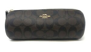 Coach Women's Makeup Brush Holder Bag Case in Signature Canvas - Brown Black