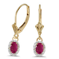 10k Yellow Gold Oval Ruby And Diamond Leverback Earrings