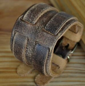 Vintage Double Band Through Wide Genuine Leather Wristband Bracelet Cuff