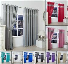 Luxury Diamante Thermal Blackout Curtain Pair Ready Made Eyelet Ring Top Curtain