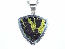 Large Sterling Silver Green Butterfly Wing Pendant Necklace on silver link chain