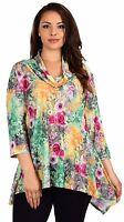 Women Plus Size 3/4 Sleeve Cowl Neck Tunic Shirt Blouse Top