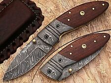 CUSTOM HAND MADE DAMASCUS STEEL BLADE POCKET KNIFE SOLID WOOD HANDLE AishaTech