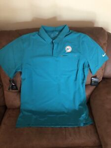 nike miami dolphins green football polo shirt new with tags size L mens