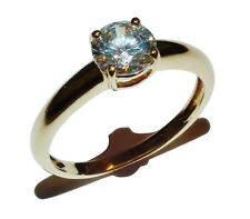18ct Yellow Gold & Cubic Zirconia Solitaire Ring - UK Size: N 1/2