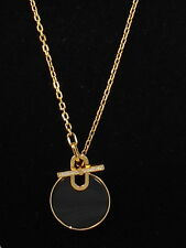 Michael Kors Goldtone CITYSCAPE DISC Black Agate Pendant Front Toggle Necklace