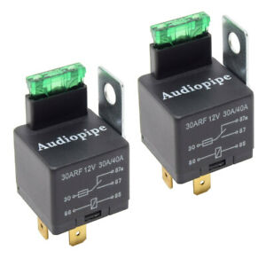 2-Pack Fused Relay 12V 30A/40A 5-Pin Auto Metal Mounting Tab SPST Built in Fuse
