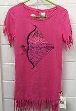 Girls Size 3 Designer Fred Bare Pink Fringed Indian Native American Summer Dress