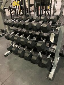 5-50 lb Urethane Hex Dumbbell Set, Rack Not Included