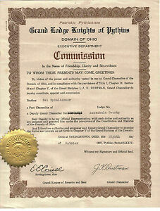 Authentic KNIGHTS OF PYTHIAS 1937 OHIO PAPER COMMISSION & ORIGINAL MAILING TUBE