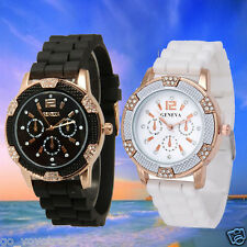 Fashion Women's Crystal Silicone Band Sport Digital Alarm Dial Wrist Watch Hot