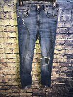 ZARA Basic Z1975 Denim Ripped Knee Frayed Hem Skinny Jeans Size 6🔥Free Shipping