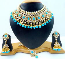 FIROZI KUNDAN CZ GOLD TONE CHOKER NECKLACE SET BOLLYWOOD BRIDAL WOMEN JEWELRY