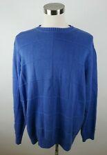 Alexander Julian Colours Mens Cotton LS Crew Neck Blue Checkered Sweater 2XLT