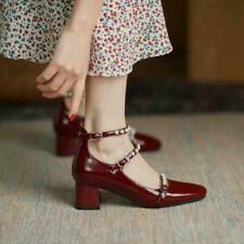 Womens Fashion Patent Leather Pearl Buckle Straps Block Heel Mary Jane Shoes SUN