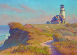 Provincetown TRURO LIGHTHOUSE Cape Cod 12x16 Giclee on Canvas