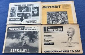 "LOT OF FOUR 1968-69 ""THE MOVEMENT"" NEWSPAPERS SNCC SDS HUEY NEWTON BLACK PANTHER"