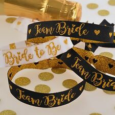 TEAM BRIDE HEN PARTY WRISTBANDS - Black/Gold Accessories Party Bag Fillers