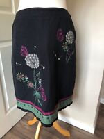Laura ashley Weekend Lined Linen Skirt Embroidered 12  Side Pockets