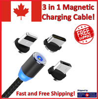 3 in 1 Magnetic Charger Micro USB Type C Charging Cable for iPhone Samsung Phone