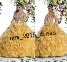 Gold Quinceanera Dress Sweet Prom Party Ball Gown Formal Evening Gown Size2-4-16