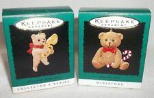 HALLMARK KEEPSAKE 1996 TEDDY BEAR LOT 2 MIINATURE ORNAMENTS -NEW-NEVER DISPLAYED