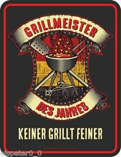 Tin sign 17 x 22, Grillmeister of the year, Advertising sign FRAMELESS Art. 3726