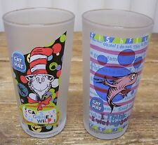 2 Cat in The Hat Dr Seuss Tall Frosted Glass Tumbler Goldfish Cat Fish