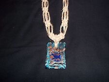 FAT Hemp NECKLACE w/Glass LARGE Pendant Hippie Goth (H-79) by Quality Jewelry