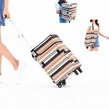 Fineget Fashion Grocery Shopping Trolley Bag Cart with Wheels Backpack Straps