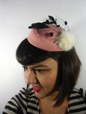 Mini chapeau bibi rétro vintage vieux rose voilette pompon fausse fourrure pinup