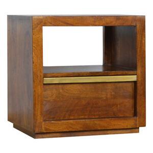 Handmade Dark Mango Wood Bedside Table Drawer Gold Bar Mid Century Furniture