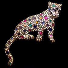 XL große antikgoldfarbene Brosche Leopard bzw. Raubkatze, buntes Kristall Pavé