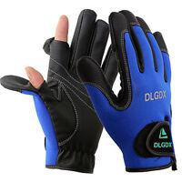 Neoprene 2 Slits Full Finger Fishing Jigging Sun Gloves Waterproof Winter Gear