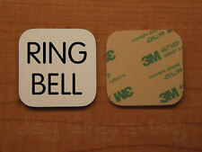 Engraved 3x3 RING BELL Plastic Tag Sign Plate   White Doorbell Plate Plaque