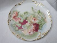 Antique Large Hand Painted Plate Abstract Pink Roses Embossed raise rim Signed