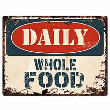 PP1403 DAILY WHOLE FOOD Plate Rustic Chic Sign Home Store Shop Decor