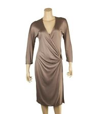 Gucci Tan Viscose Horsebit Gold-tone Cocktail Dress, Size L
