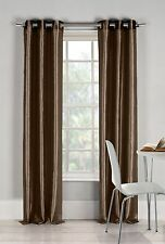 "Two (2) Chocolate Window Curtain Panels: Faux Silk, Silver Grommets, 76"" x 84"""
