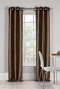 """Two (2) Chocolate Window Curtain Panels: Faux Silk, Silver Grommets, 76"""" x 84"""""""