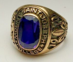 10K YELLOW GOLD MOUNT SAINT JOSEPH COLLEGE CLASS RING-1970-SIZE 6.5-DIEGES CLUST