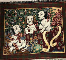 Crown Crafts Holiday Christmas Afghan or Throw Blanket Cotton Fringe Puppy  2174